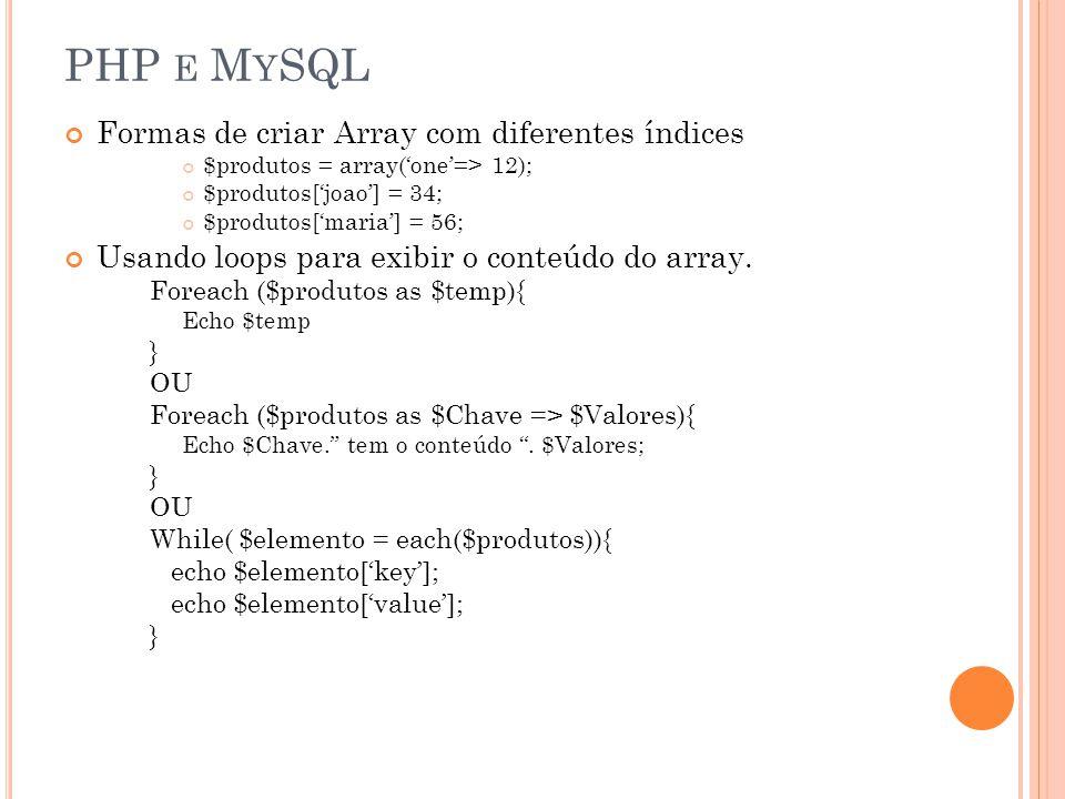 PHP E M Y SQL Formas de criar Array com diferentes índices $produtos = array(one=> 12); $produtos[joao] = 34; $produtos[maria] = 56; Usando loops para