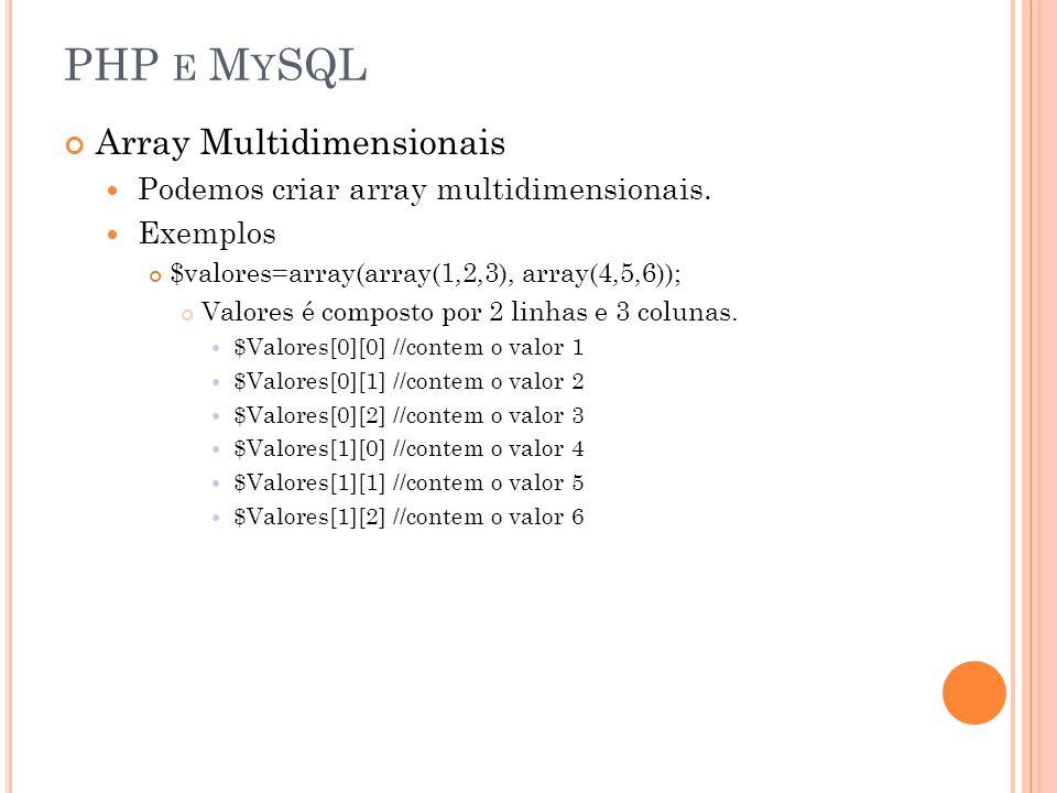 PHP E M Y SQL Array Multidimensionais Podemos criar array multidimensionais. Exemplos $valores=array(array(1,2,3), array(4,5,6)); Valores é composto p