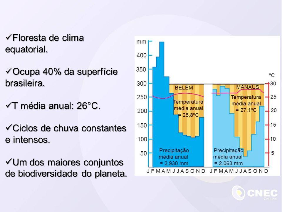 Floresta de clima equatorial. Floresta de clima equatorial. Ocupa 40% da superfície brasileira. Ocupa 40% da superfície brasileira. T média anual: 26°