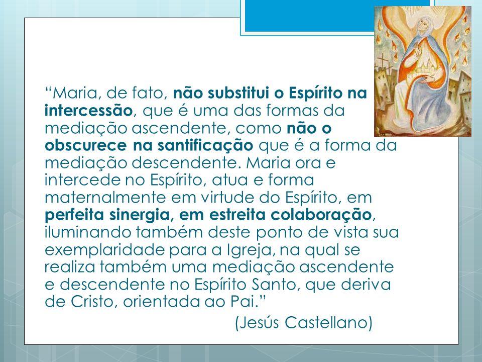 Maria, de fato, não substitui o Espírito na intercessão, que é uma das formas da mediação ascendente, como não o obscurece na santificação que é a forma da mediação descendente.