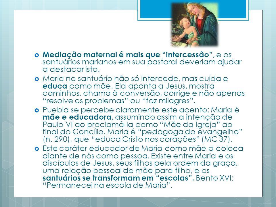 Mediação maternal é mais que intercessão, e os santuários marianos em sua pastoral deveriam ajudar a destacar isto.