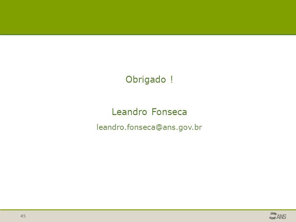 Obrigado ! Leandro Fonseca leandro.fonseca@ans.gov.br 45