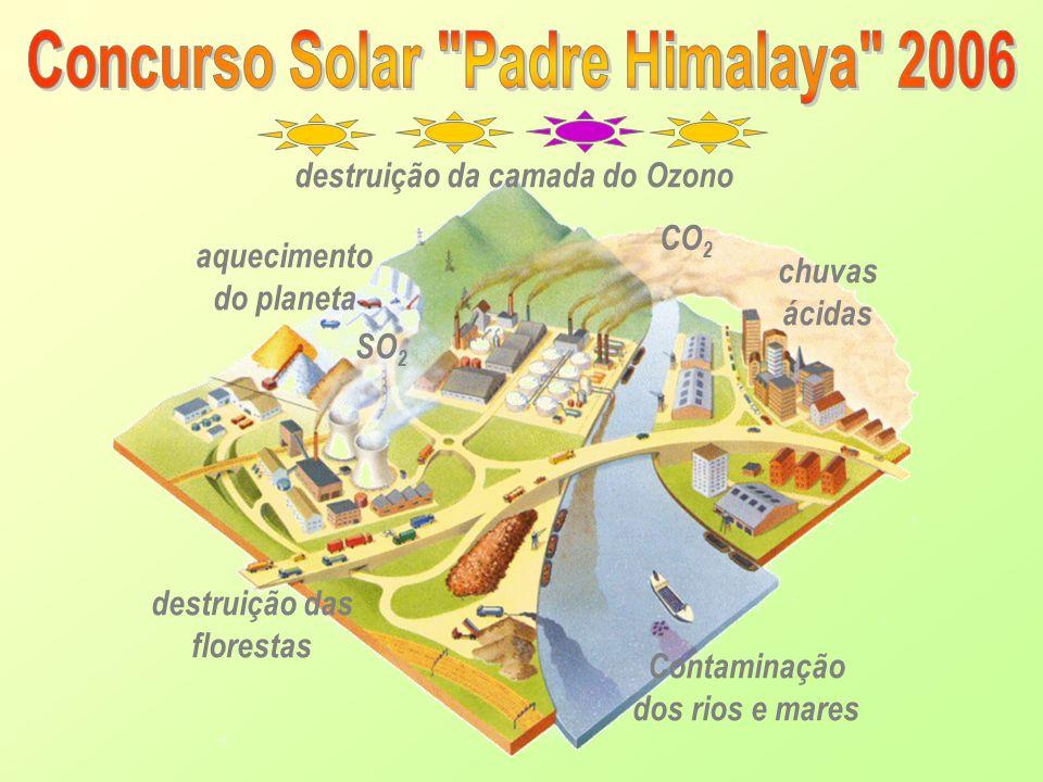 CO 2 chuvas ácidas Contaminação dos rios e mares SO 2 destruição da camada do Ozono aquecimento do planeta destruição das florestas