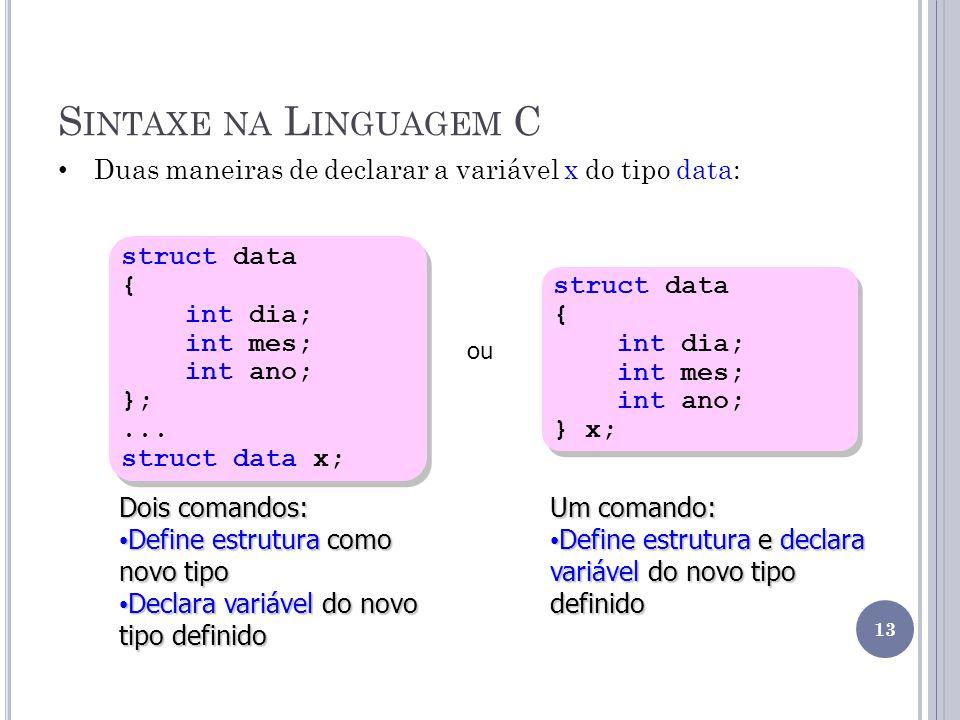 S INTAXE NA L INGUAGEM C struct data { int dia; int mes; int ano; };... struct data x; struct data { int dia; int mes; int ano; };... struct data x; D