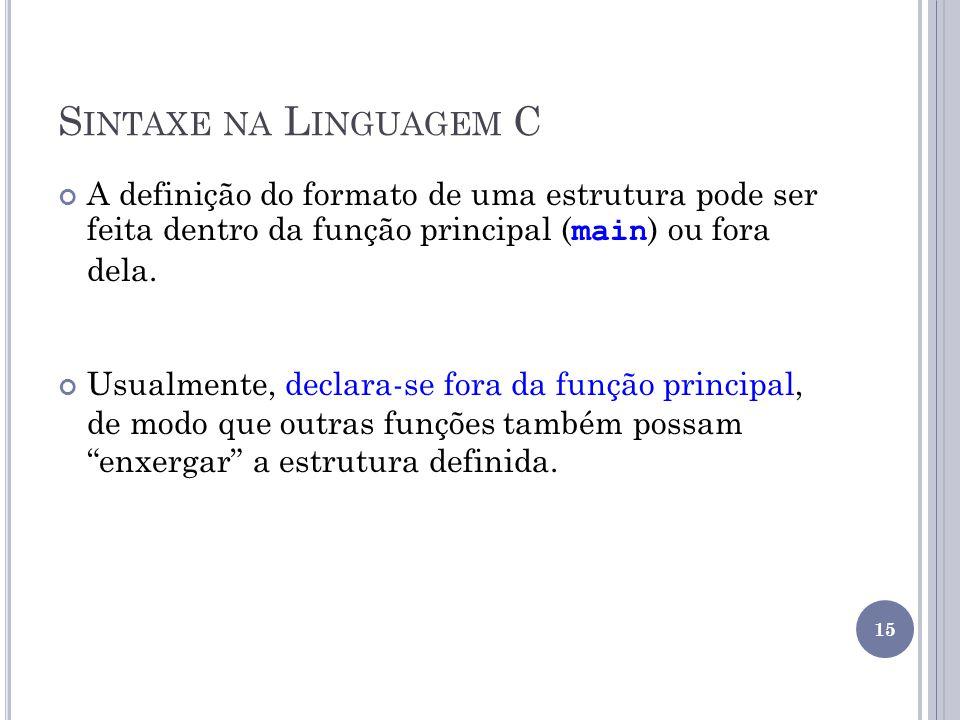 S INTAXE NA L INGUAGEM C A definição do formato de uma estrutura pode ser feita dentro da função principal ( main ) ou fora dela.
