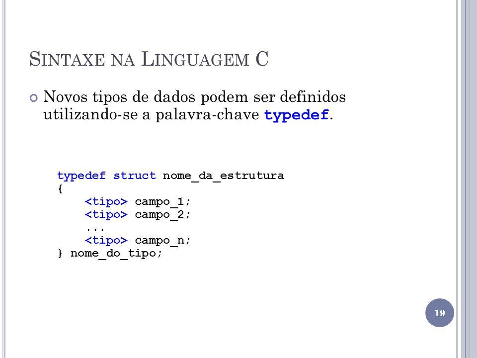 S INTAXE NA L INGUAGEM C Novos tipos de dados podem ser definidos utilizando-se a palavra-chave typedef. typedef struct nome_da_estrutura { campo_1; c