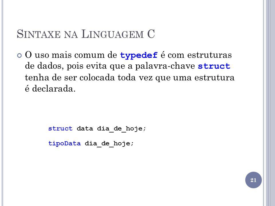 S INTAXE NA L INGUAGEM C O uso mais comum de typedef é com estruturas de dados, pois evita que a palavra-chave struct tenha de ser colocada toda vez que uma estrutura é declarada.