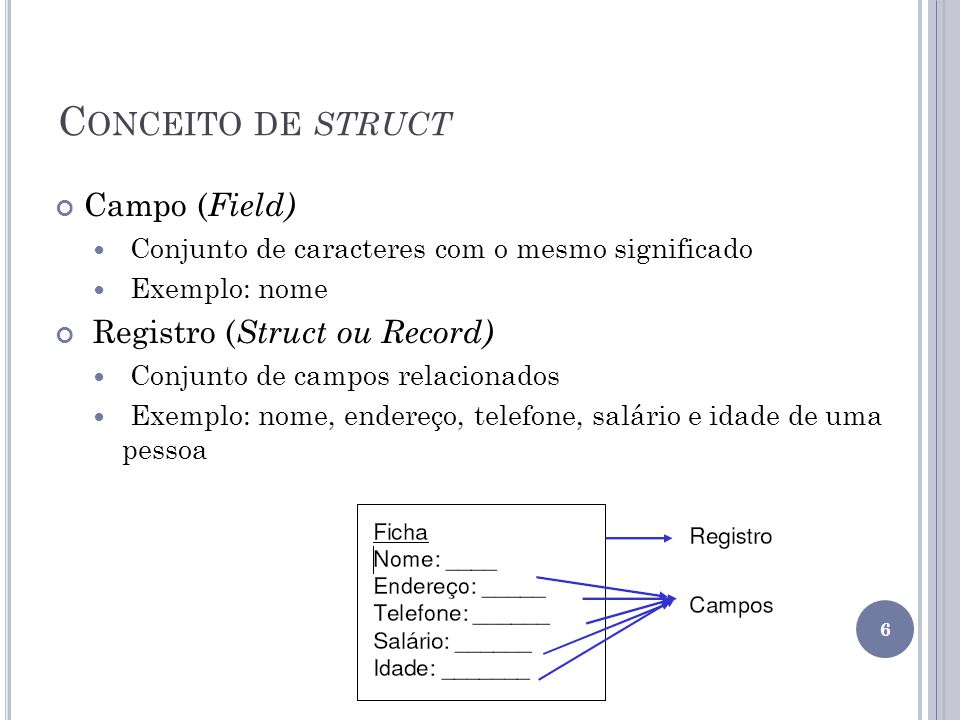 C ONCEITO DE STRUCT Campo ( Field) Conjunto de caracteres com o mesmo significado Exemplo: nome Registro ( Struct ou Record) Conjunto de campos relacionados Exemplo: nome, endereço, telefone, salário e idade de uma pessoa 6