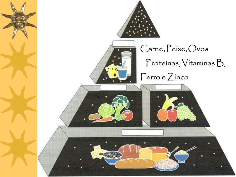 Carne, Peixe, Ovos Proteínas, Vitaminas B, Ferro e Zinco