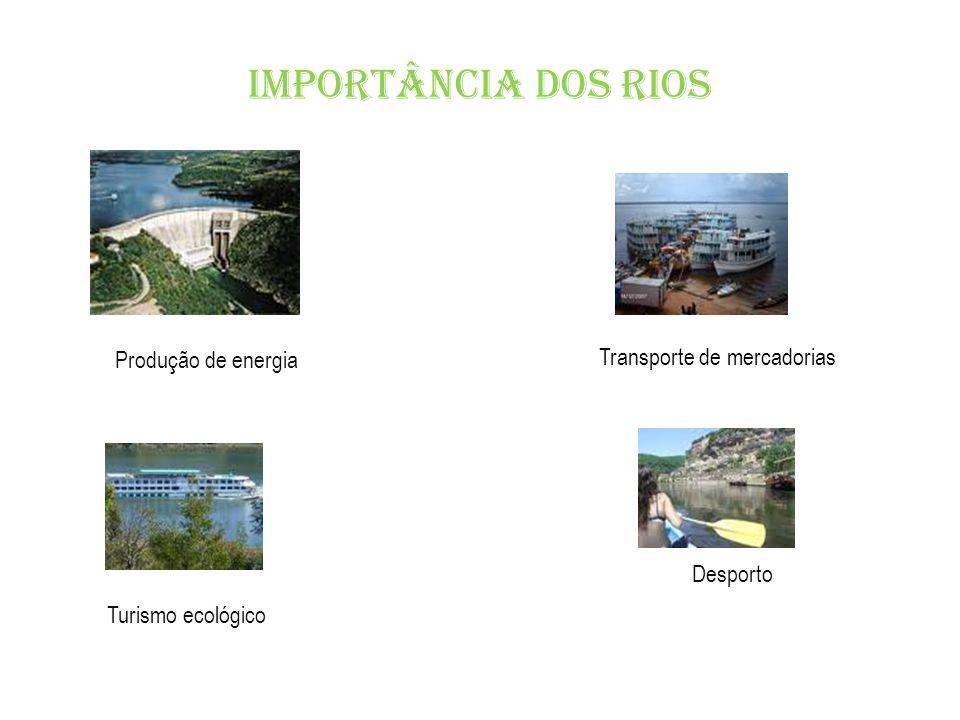 Produção de energia Transporte de mercadorias Desporto Turismo ecológico Importância dos rios