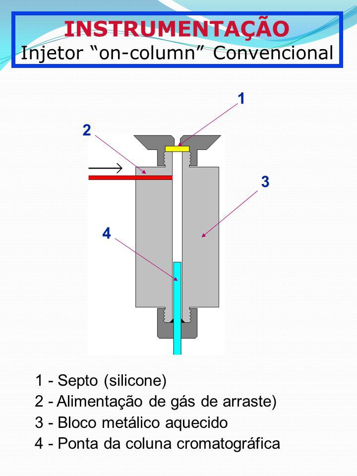 INSTRUMENTAÇÃO Injetor on-column Convencional 1 2 3 4 1 - Septo (silicone) 2 - Alimentação de gás de arraste) 3 - Bloco metálico aquecido 4 - Ponta da