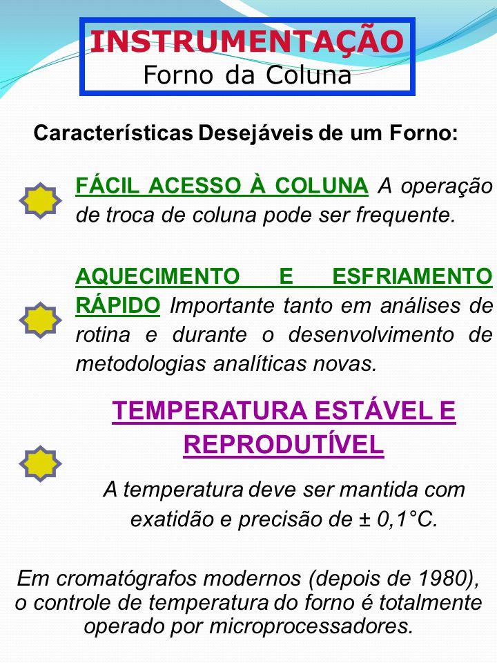INSTRUMENTAÇÃO Forno da Coluna Características Desejáveis de um Forno: FÁCIL ACESSO À COLUNA A operação de troca de coluna pode ser frequente. AQUECIM