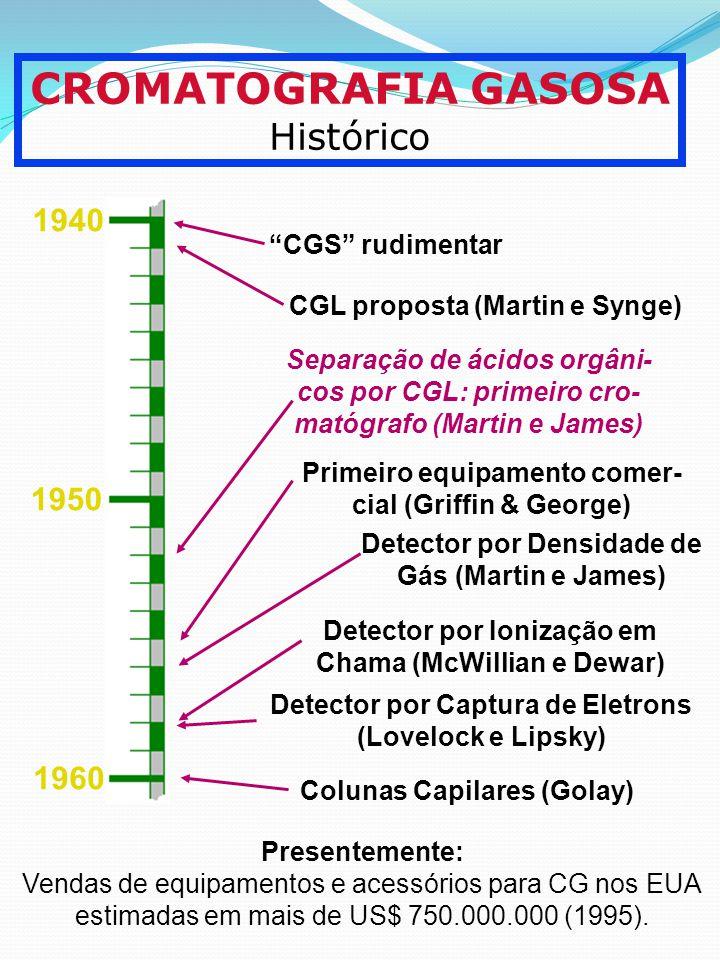CROMATOGRAFIA GASOSA Histórico Presentemente: Vendas de equipamentos e acessórios para CG nos EUA estimadas em mais de US$ 750.000.000 (1995). 1940 19