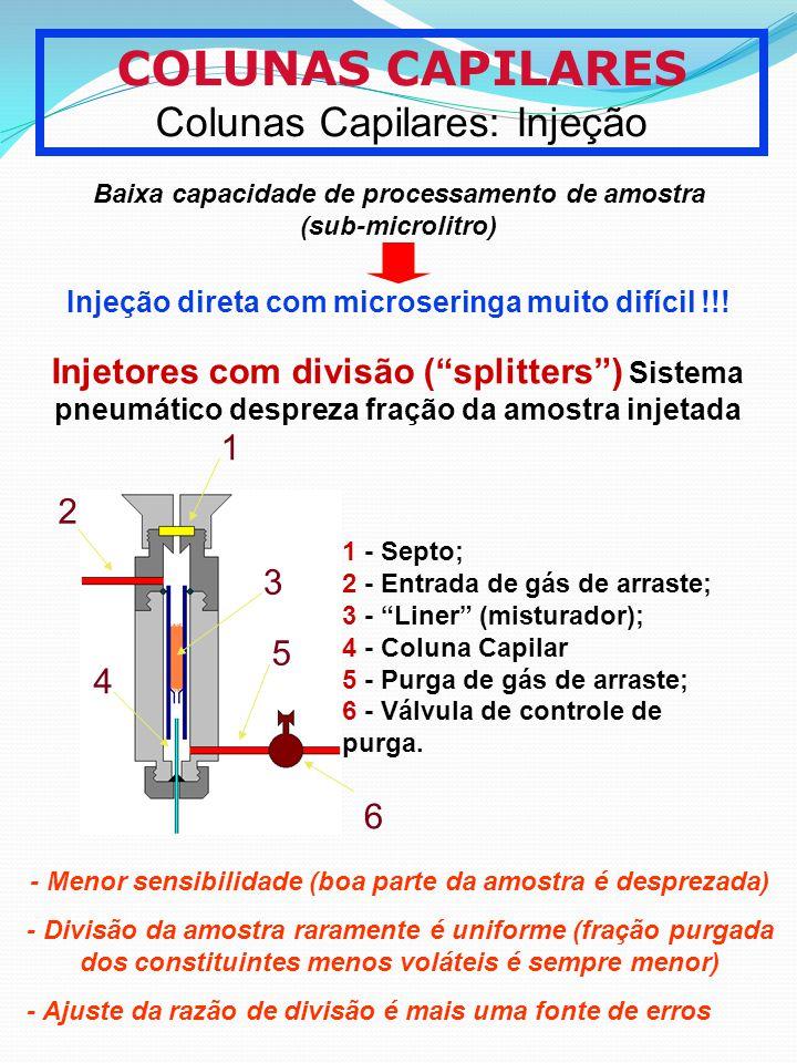 COLUNAS CAPILARES Colunas Capilares: Injeção 1 2 3 4 5 6 1 - Septo; 2 - Entrada de gás de arraste; 3 - Liner (misturador); 4 - Coluna Capilar 5 - Purg