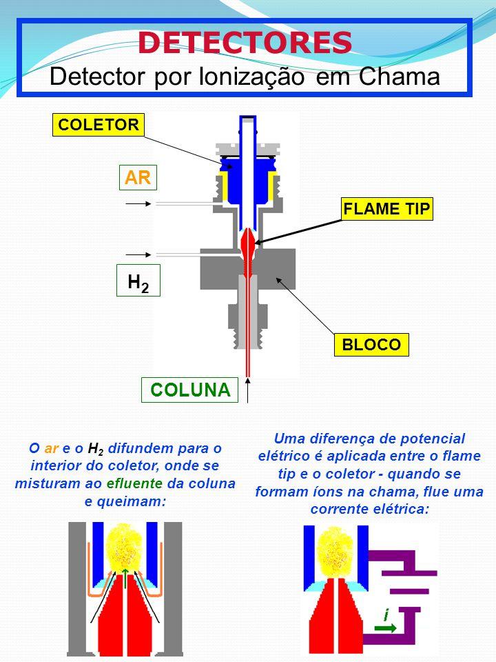 DETECTORES Detector por Ionização em Chama COLETOR FLAME TIP BLOCO AR H2H2 COLUNA O ar e o H 2 difundem para o interior do coletor, onde se misturam a