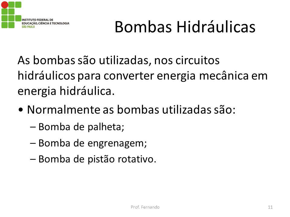 Bombas Hidráulicas As bombas são utilizadas, nos circuitos hidráulicos para converter energia mecânica em energia hidráulica. Normalmente as bombas ut