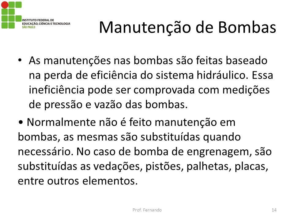 Manutenção de Bombas As manutenções nas bombas são feitas baseado na perda de eficiência do sistema hidráulico. Essa ineficiência pode ser comprovada