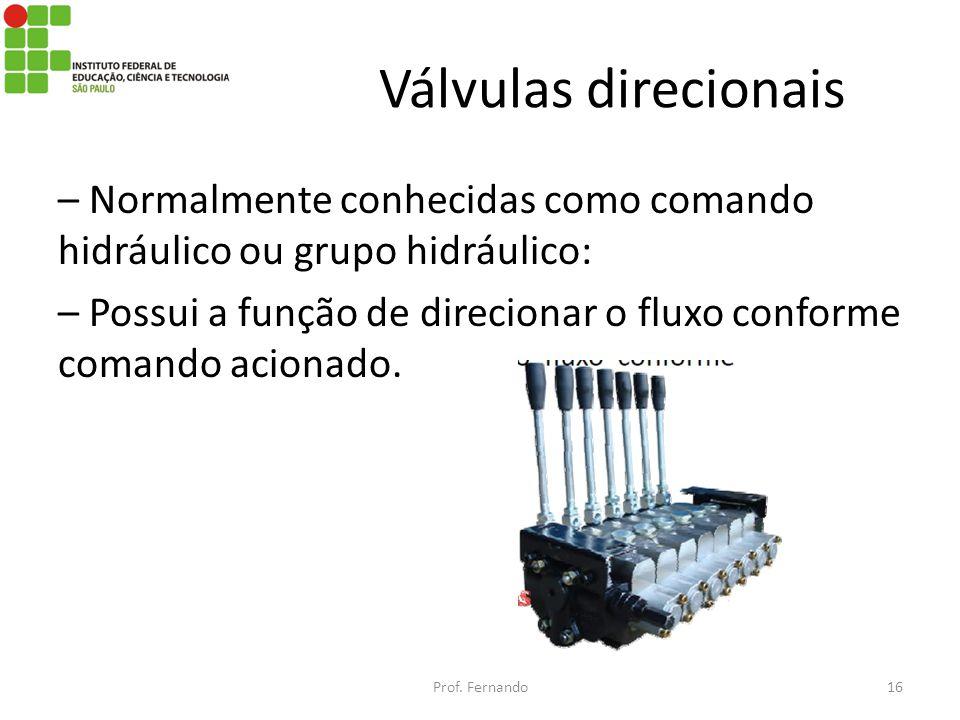 Válvulas direcionais – Normalmente conhecidas como comando hidráulico ou grupo hidráulico: – Possui a função de direcionar o fluxo conforme comando ac