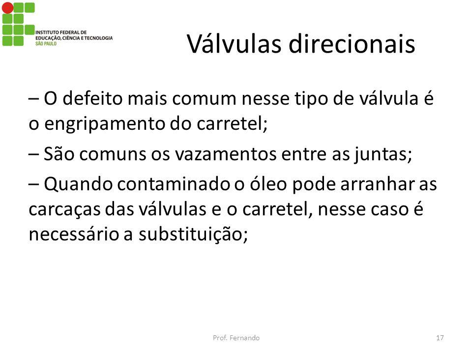 Válvulas direcionais – O defeito mais comum nesse tipo de válvula é o engripamento do carretel; – São comuns os vazamentos entre as juntas; – Quando c