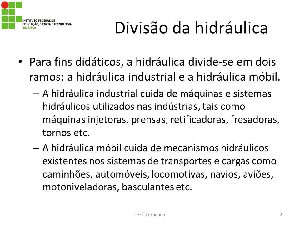 Divisão da hidráulica Para fins didáticos, a hidráulica divide-se em dois ramos: a hidráulica industrial e a hidráulica móbil. – A hidráulica industri