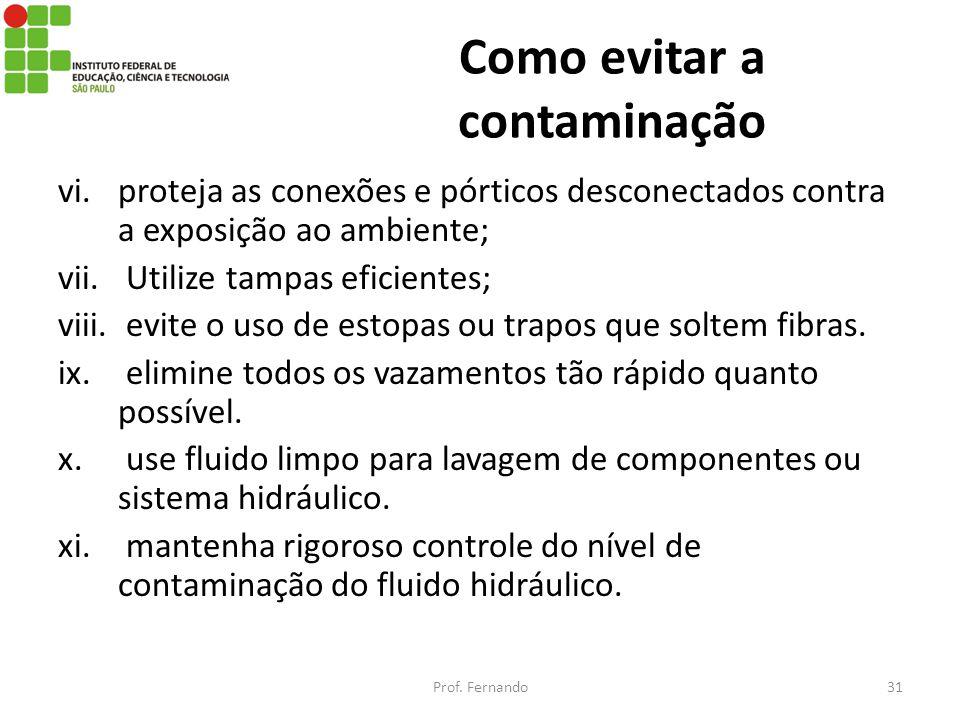 Como evitar a contaminação vi.proteja as conexões e pórticos desconectados contra a exposição ao ambiente; vii. Utilize tampas eficientes; viii. evite