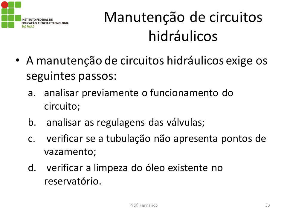 Manutenção de circuitos hidráulicos A manutenção de circuitos hidráulicos exige os seguintes passos: a.analisar previamente o funcionamento do circuit