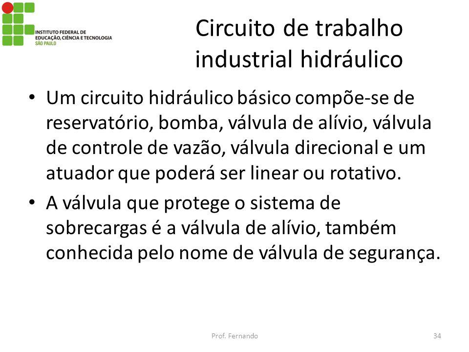Circuito de trabalho industrial hidráulico Um circuito hidráulico básico compõe-se de reservatório, bomba, válvula de alívio, válvula de controle de v