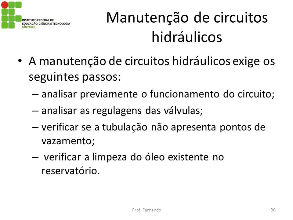 Manutenção de circuitos hidráulicos A manutenção de circuitos hidráulicos exige os seguintes passos: – analisar previamente o funcionamento do circuit