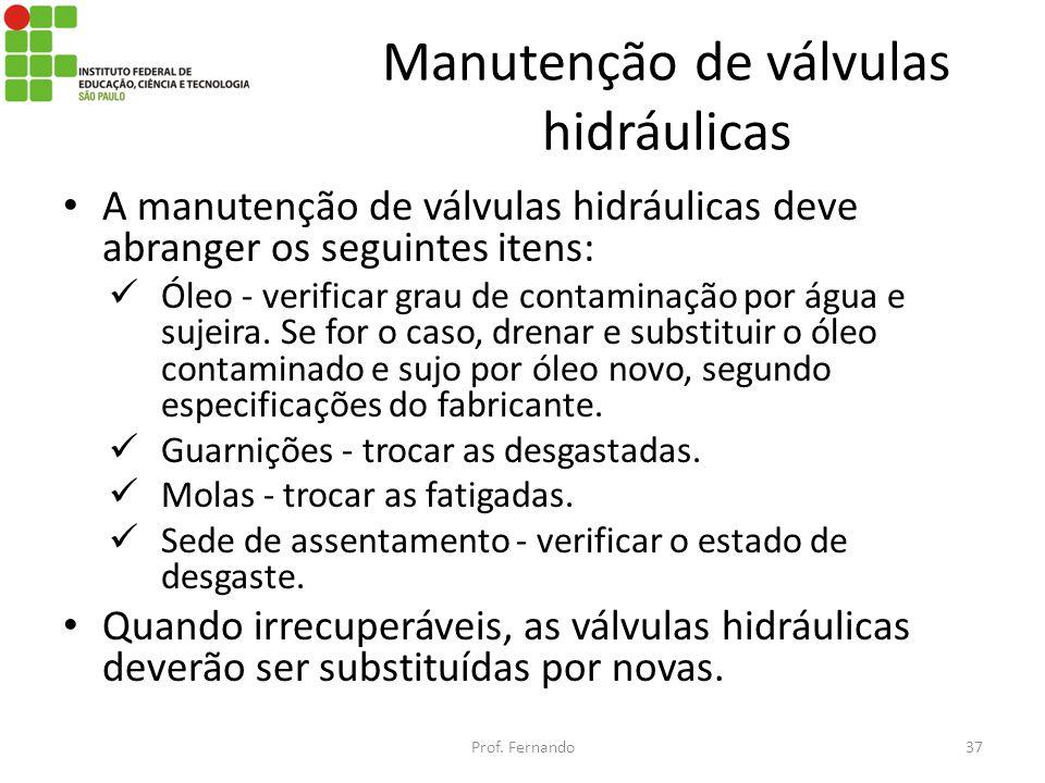 Manutenção de válvulas hidráulicas A manutenção de válvulas hidráulicas deve abranger os seguintes itens: Óleo - verificar grau de contaminação por ág