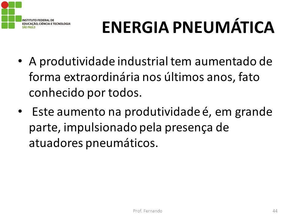 ENERGIA PNEUMÁTICA A produtividade industrial tem aumentado de forma extraordinária nos últimos anos, fato conhecido por todos. Este aumento na produt