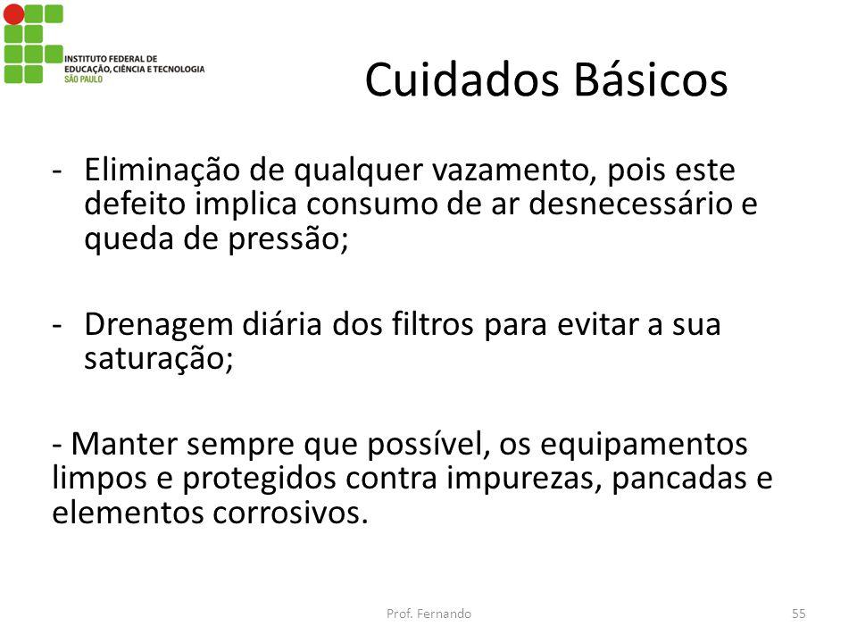 Cuidados Básicos -Eliminação de qualquer vazamento, pois este defeito implica consumo de ar desnecessário e queda de pressão; -Drenagem diária dos fil