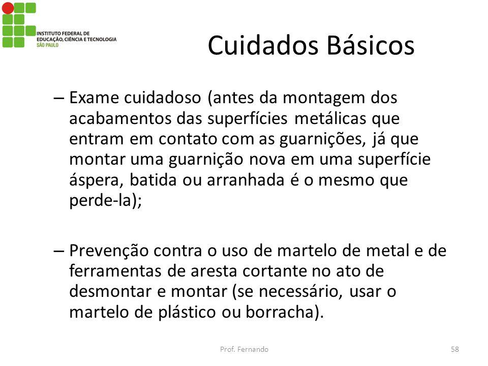 Cuidados Básicos – Exame cuidadoso (antes da montagem dos acabamentos das superfícies metálicas que entram em contato com as guarnições, já que montar
