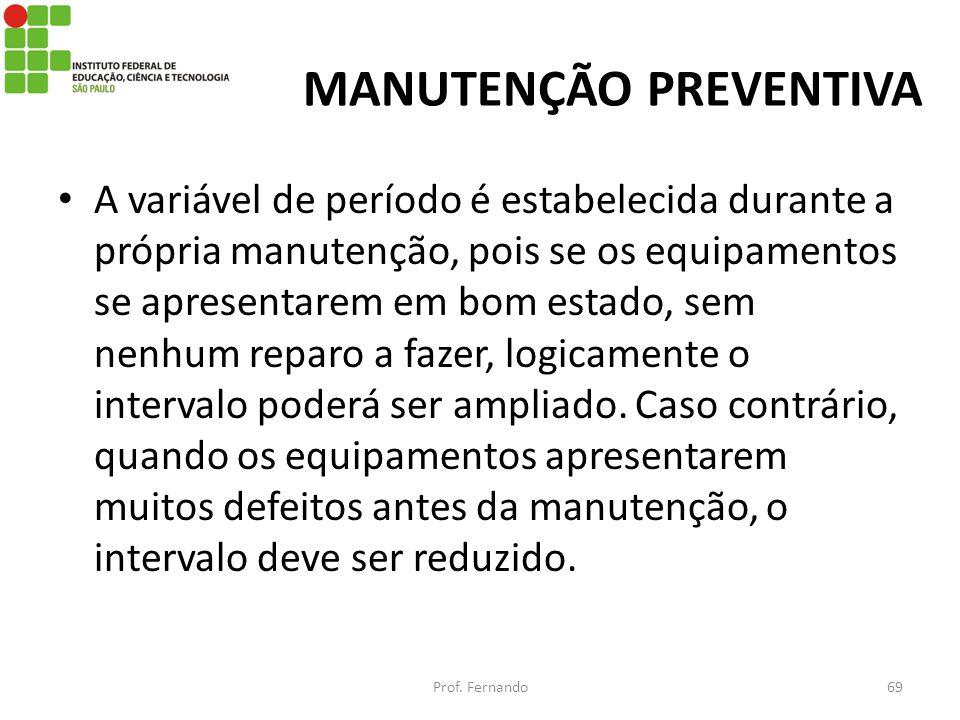 MANUTENÇÃO PREVENTIVA A variável de período é estabelecida durante a própria manutenção, pois se os equipamentos se apresentarem em bom estado, sem ne