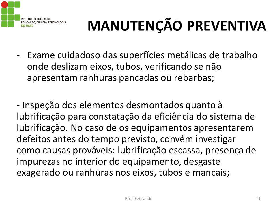 MANUTENÇÃO PREVENTIVA -Exame cuidadoso das superfícies metálicas de trabalho onde deslizam eixos, tubos, verificando se não apresentam ranhuras pancad