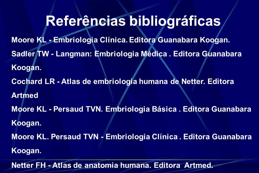 Referências bibliográficas Moore KL - Embriologia Clínica. Editora Guanabara Koogan. Sadler TW - Langman: Embriologia Médica. Editora Guanabara Koogan