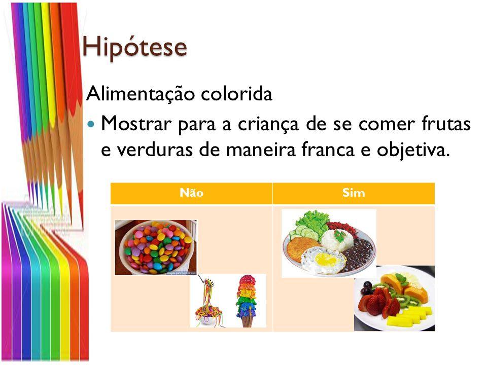 Hipótese Alimentação colorida Mostrar para a criança de se comer frutas e verduras de maneira franca e objetiva.