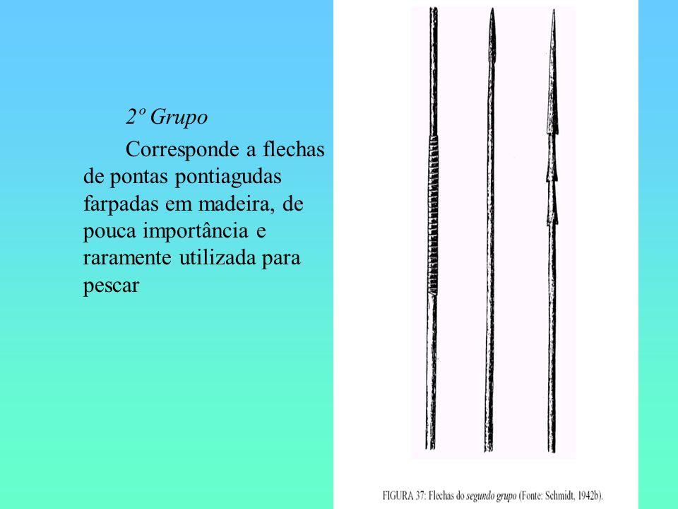 2º Grupo Corresponde a flechas de pontas pontiagudas farpadas em madeira, de pouca importância e raramente utilizada para pescar