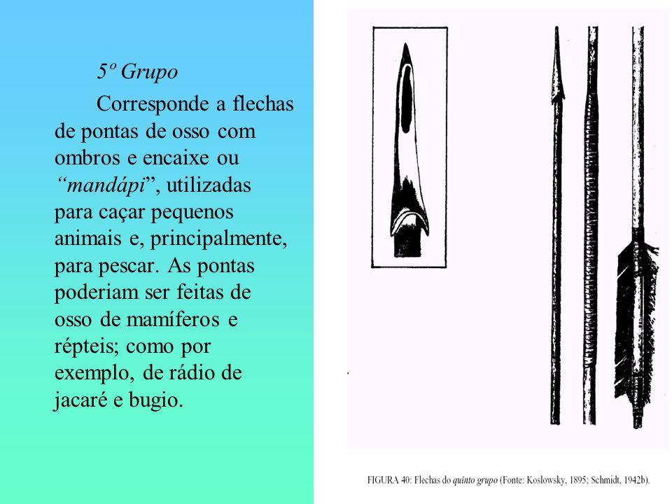 5º Grupo Corresponde a flechas de pontas de osso com ombros e encaixe ou mandápi, utilizadas para caçar pequenos animais e, principalmente, para pesca