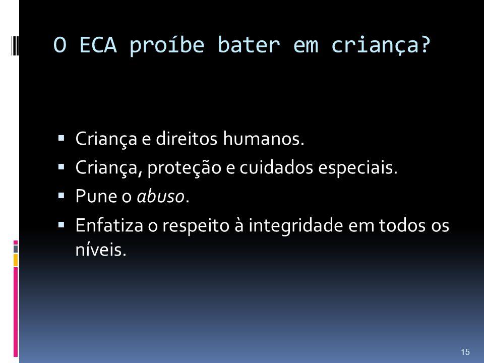 O ECA proíbe bater em criança? Criança e direitos humanos. Criança, proteção e cuidados especiais. Pune o abuso. Enfatiza o respeito à integridade em