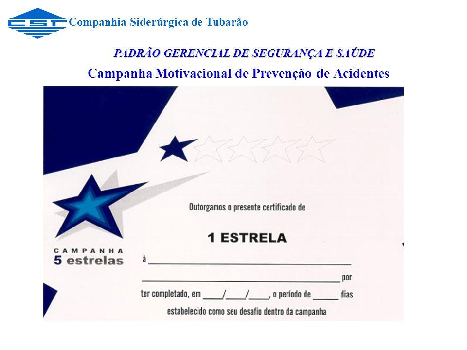 Campanha Motivacional de Prevenção de Acidentes Companhia Siderúrgica de Tubarão PADRÃO GERENCIAL DE SEGURANÇA E SAÚDE