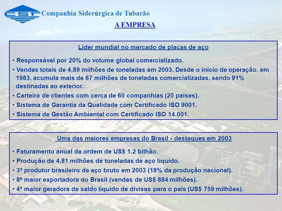 Companhia Siderúrgica de Tubarão Líder mundial no mercado de placas de aço Responsável por 20% do volume global comercializado. Vendas totais de 4,89
