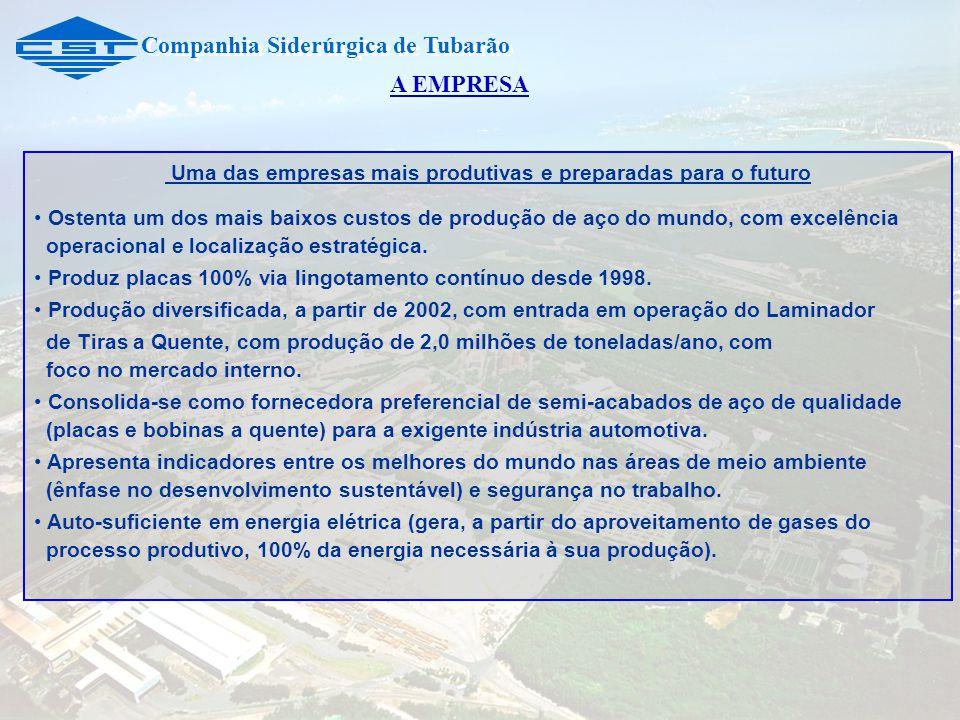 Companhia Siderúrgica de Tubarão Uma das empresas mais produtivas e preparadas para o futuro Ostenta um dos mais baixos custos de produção de aço do mundo, com excelência operacional e localização estratégica.