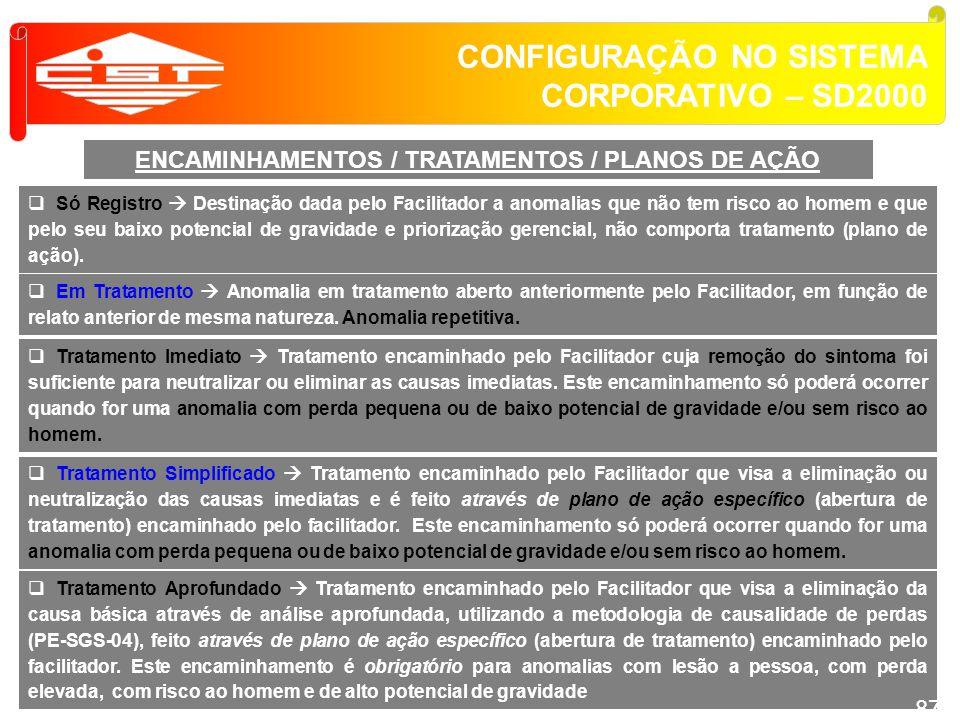 CONFIGURAÇÃO NO SISTEMA CORPORATIVO – SD2000 ENCAMINHAMENTOS / TRATAMENTOS / PLANOS DE AÇÃO Tratamento Imediato Tratamento encaminhado pelo Facilitado