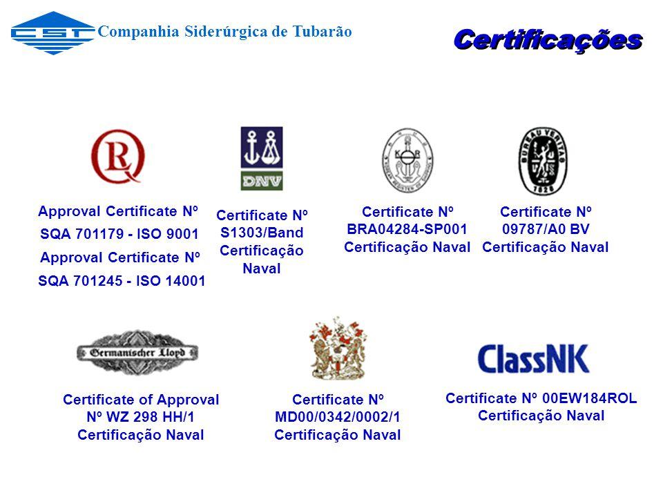 Approval Certificate Nº SQA 701179 - ISO 9001 Approval Certificate Nº SQA 701245 - ISO 14001 Certificate Nº S1303/Band Certificação Naval Certificate Nº BRA04284-SP001 Certificação Naval Certificate Nº 09787/A0 BV Certificação Naval Certificate Nº 00EW184ROL Certificação Naval Certificate of Approval Nº WZ 298 HH/1 Certificação Naval Certificate Nº MD00/0342/0002/1 Certificação Naval Certificações Companhia Siderúrgica de Tubarão