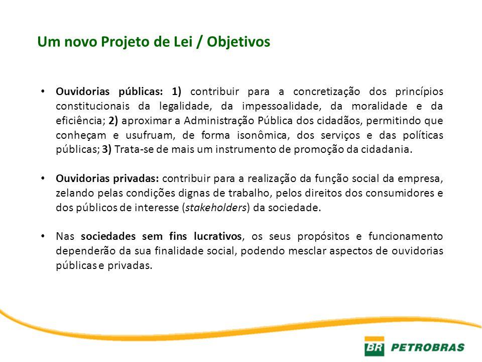 Um novo Projeto de Lei / Objetivos Ouvidorias públicas: 1) contribuir para a concretização dos princípios constitucionais da legalidade, da impessoali