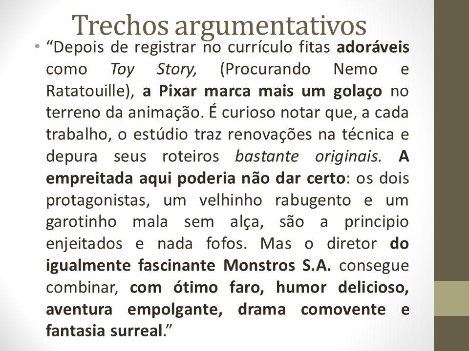 Trechos argumentativos Depois de registrar no currículo fitas adoráveis como Toy Story, (Procurando Nemo e Ratatouille), a Pixar marca mais um golaço