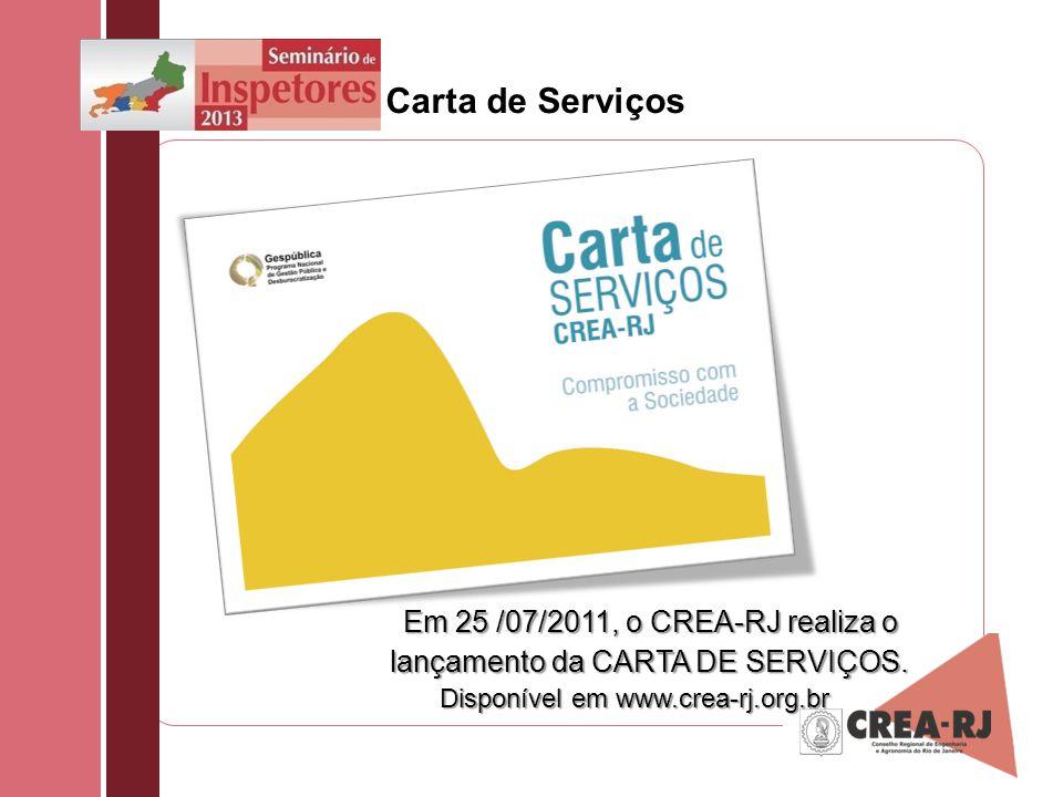 Carta de Serviços Em 25 /07/2011, o CREA-RJ realiza o lançamento da CARTA DE SERVIÇOS. Disponível em www.crea-rj.org.br