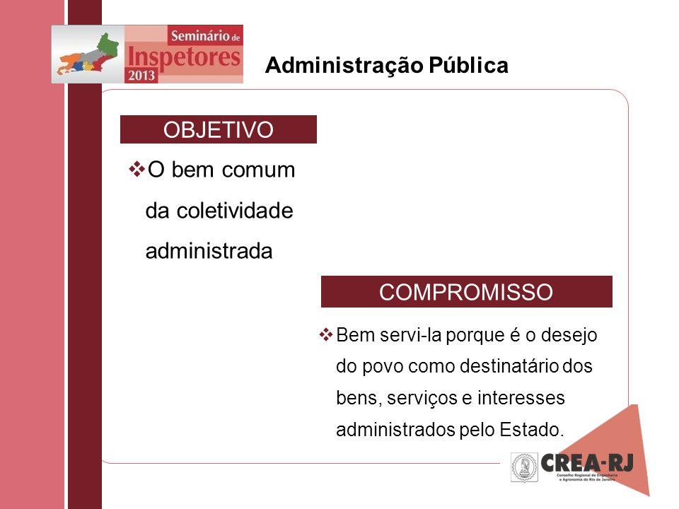 Administração Pública O bem comum da coletividade administrada Bem servi-la porque é o desejo do povo como destinatário dos bens, serviços e interesse
