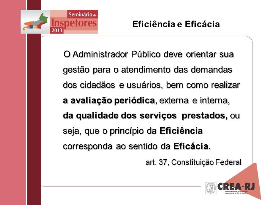 Eficiência e Eficácia O Administrador Público deve orientar sua gestão para o atendimento das demandas dos cidadãos e usuários, bem como realizar a av