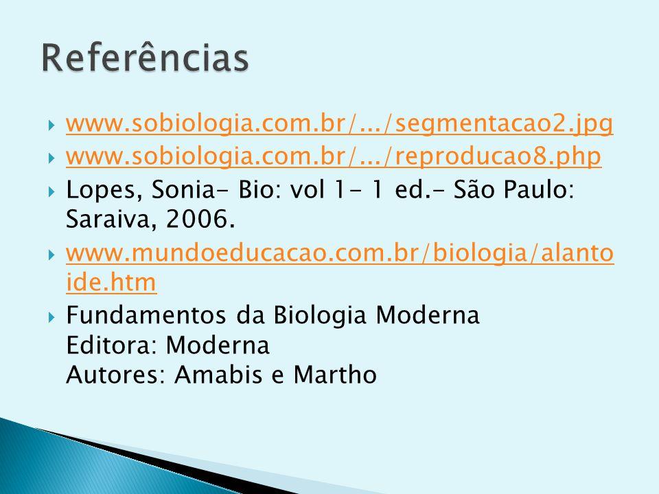 www.sobiologia.com.br/.../segmentacao2.jpg www.sobiologia.com.br/.../reproducao8.php Lopes, Sonia- Bio: vol 1- 1 ed.- São Paulo: Saraiva, 2006. www.mu